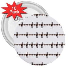 Barbed Wire Brown 3  Buttons (10 Pack)  by Mariart