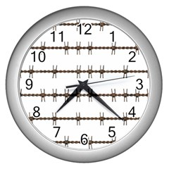 Barbed Wire Brown Wall Clocks (silver)  by Mariart