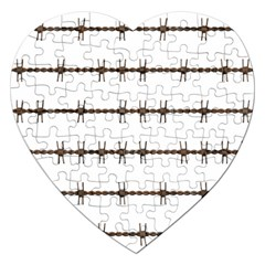 Barbed Wire Brown Jigsaw Puzzle (heart) by Mariart
