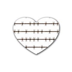Barbed Wire Brown Heart Coaster (4 Pack)  by Mariart