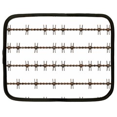 Barbed Wire Brown Netbook Case (large) by Mariart