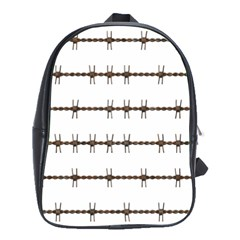 Barbed Wire Brown School Bag (large) by Mariart