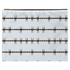 Barbed Wire Brown Cosmetic Bag (xxxl)  by Mariart
