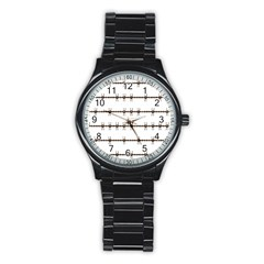 Barbed Wire Brown Stainless Steel Round Watch by Mariart