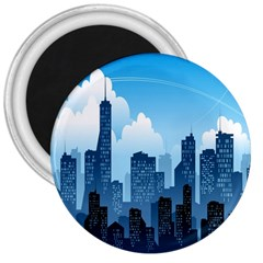 City Building Blue Sky 3  Magnets by Mariart