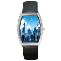 City Building Blue Sky Barrel Style Metal Watch by Mariart