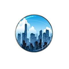 City Building Blue Sky Hat Clip Ball Marker by Mariart
