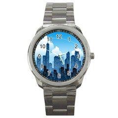 City Building Blue Sky Sport Metal Watch by Mariart