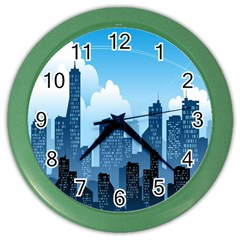 City Building Blue Sky Color Wall Clocks by Mariart