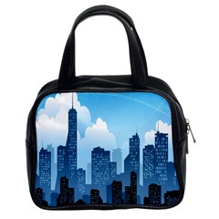 City Building Blue Sky Classic Handbags (2 Sides) by Mariart