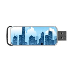 City Building Blue Sky Portable Usb Flash (one Side) by Mariart