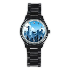 City Building Blue Sky Stainless Steel Round Watch by Mariart