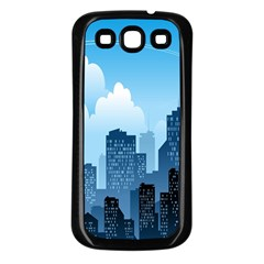 City Building Blue Sky Samsung Galaxy S3 Back Case (black) by Mariart