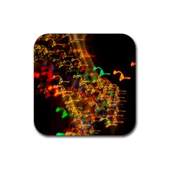 Christmas Tree Light Color Night Rubber Square Coaster (4 Pack)  by Mariart