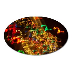 Christmas Tree Light Color Night Oval Magnet by Mariart