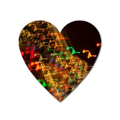Christmas Tree Light Color Night Heart Magnet by Mariart