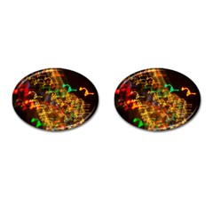 Christmas Tree Light Color Night Cufflinks (oval) by Mariart