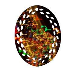 Christmas Tree Light Color Night Oval Filigree Ornament (two Sides) by Mariart