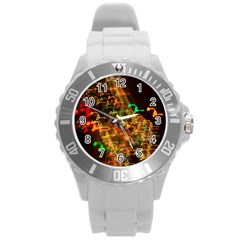 Christmas Tree Light Color Night Round Plastic Sport Watch (l) by Mariart