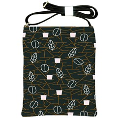 Espresso Cofee Glass Line Chevron Shoulder Sling Bags by Mariart