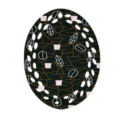 Espresso Cofee Glass Line Chevron Ornament (oval Filigree) by Mariart