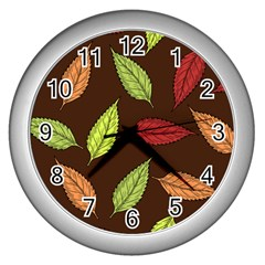 Autumn Leaves Pattern Wall Clocks (silver)  by Mariart