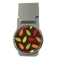 Autumn Leaves Pattern Money Clips (round)  by Mariart