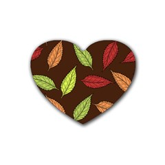 Autumn Leaves Pattern Rubber Coaster (heart)  by Mariart