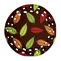 Autumn Leaves Pattern Round Filigree Ornament (two Sides) by Mariart