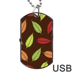 Autumn Leaves Pattern Dog Tag Usb Flash (two Sides) by Mariart