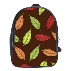 Autumn Leaves Pattern School Bag (xl) by Mariart