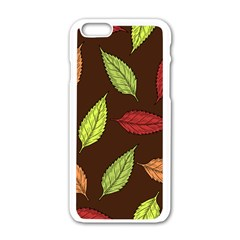 Autumn Leaves Pattern Apple Iphone 6/6s White Enamel Case by Mariart