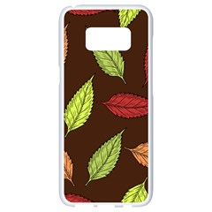 Autumn Leaves Pattern Samsung Galaxy S8 White Seamless Case