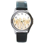 Wheat Plants Round Metal Watch Front