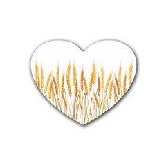 Wheat Plants Rubber Coaster (heart)  by Mariart