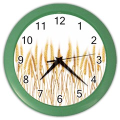 Wheat Plants Color Wall Clocks by Mariart