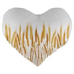 Wheat Plants Large 19  Premium Flano Heart Shape Cushions by Mariart
