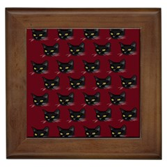 Face Cat Animals Red Framed Tiles by Mariart