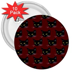 Face Cat Animals Red 3  Buttons (10 Pack)  by Mariart