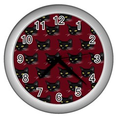 Face Cat Animals Red Wall Clocks (silver)  by Mariart