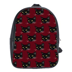 Face Cat Animals Red School Bag (large) by Mariart