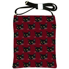 Face Cat Animals Red Shoulder Sling Bags by Mariart