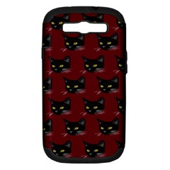 Face Cat Animals Red Samsung Galaxy S Iii Hardshell Case (pc+silicone) by Mariart