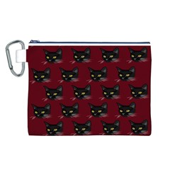 Face Cat Animals Red Canvas Cosmetic Bag (l) by Mariart