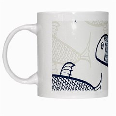 Fish Graphic Flooring Blue Seaworld Swim Water White Mugs