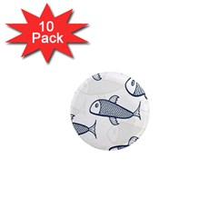 Fish Graphic Flooring Blue Seaworld Swim Water 1  Mini Magnet (10 Pack)  by Mariart
