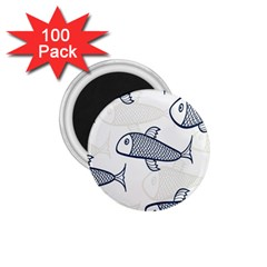 Fish Graphic Flooring Blue Seaworld Swim Water 1 75  Magnets (100 Pack)  by Mariart