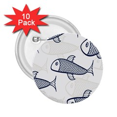 Fish Graphic Flooring Blue Seaworld Swim Water 2 25  Buttons (10 Pack)  by Mariart