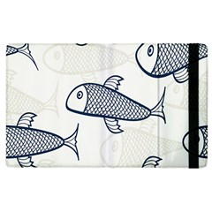 Fish Graphic Flooring Blue Seaworld Swim Water Apple Ipad 3/4 Flip Case by Mariart