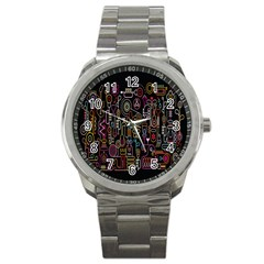 Features Illustration Sport Metal Watch by Mariart